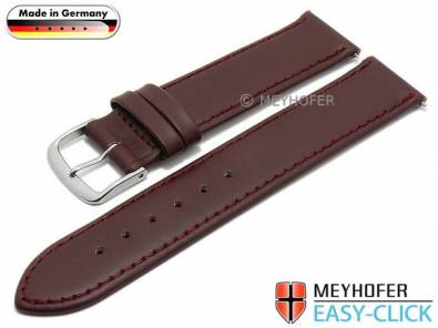 Watch strap Meyhofer EASY-CLICK -Bonn- 20mm bordeaux leather stitched (width of buckle 20 mm) - Bild vergrößern