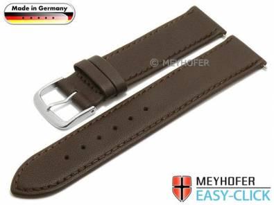 Watch strap Meyhofer EASY-CLICK -Bonn- 20mm dark brown leather stitched (width of buckle 20 mm) - Bild vergrößern