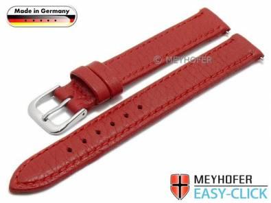 Watch strap Meyhofer EASY-CLICK -Neuss- 12mm red deer leather grained stitched (width of buckle 12 mm) - Bild vergrößern