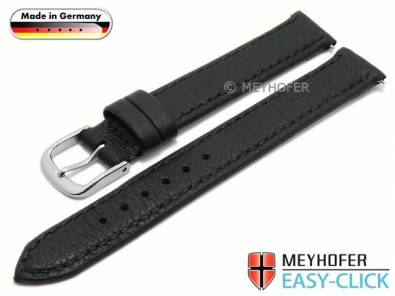 Watch strap Meyhofer EASY-CLICK -Neuss- 12mm black deer leather grained stitched (width of buckle 12 mm) - Bild vergrößern