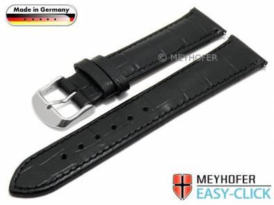 Watch strap Meyhofer EASY-CLICK -Inzell- 22mm black leather alligator grain stitched (width of buckle 18 mm) - Bild vergrößern