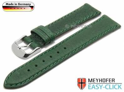 Watch strap Meyhofer EASY-CLICK -Brunn- 16mm green leather grained stitched (width of buckle 14 mm) - Bild vergrößern