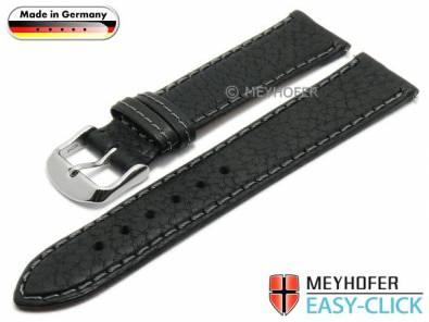 Watch strap Meyhofer EASY-CLICK -Brunn- 16mm black leather grained stitched (width of buckle 14 mm) - Bild vergrößern