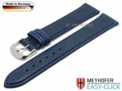 Watch strap Meyhofer EASY-CLICK XL -Scheidt- 20mm dark blue leather grained stitched (width of buckle 18 mm) - Bild vergrößern