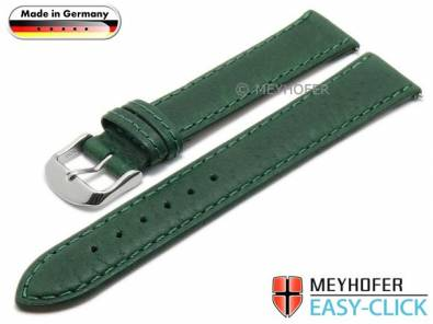 Watch strap Meyhofer EASY-CLICK XL -Scheidt- 18mm green leather grained stitched (width of buckle 16 mm) - Bild vergrößern