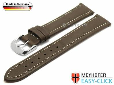 Watch strap Meyhofer EASY-CLICK -Kelheim- 22mm dark brown leather smooth light stitching (width of buckle 20 mm) - Bild vergrößern
