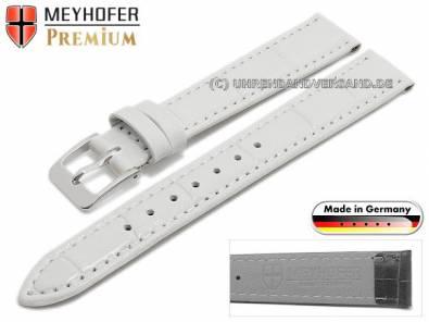 Watch strap -Wellington- 14mm white leather alligator grain stitched by MEYHOFER (width of buckle 12 mm) - Bild vergrößern
