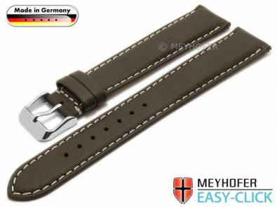 Meyhofer EASY-CLICK watch strap XL -Mosel- 20mm dark brown leather grained light stitching (width of buckle 18 mm) - Bild vergrößern