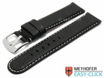 Meyhofer EASY-CLICK watch strap -Tahoe- 22mm black leather grained light stitching (width of buckle 22 mm) - Bild vergrößern