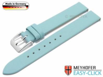 Meyhofer EASY-CLICK watch strap -Donau- 12mm light blue leather smooth without stitching (width of buckle 12 mm) - Bild vergrößern