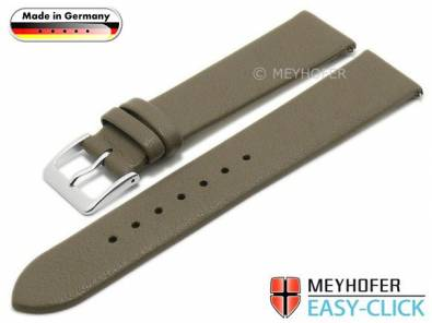 Meyhofer EASY-CLICK watch strap XS -Weser- 20mm taupe leather smooth without stitching (width of buckle 18 mm) - Bild vergrößern