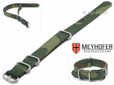 Watch strap -Selkirk- 18mm green/camouflage textile stitched one piece strap in NATO style by MEYHOFER - Bild vergrößern