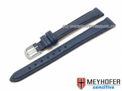 Watch band -Alvesta- 14mm dark blue grained genuine calf leather by MEYHOFER (width of buckle 12 mm) - Bild vergrößern