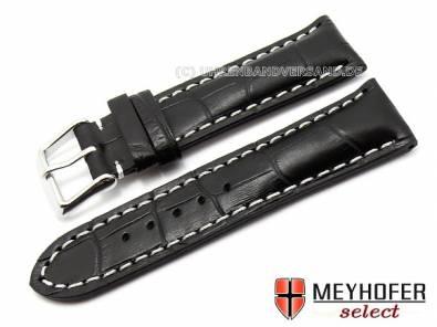 Watch band -Catania- XS 18mm black alligator grain light stitching MEYHOFER (width of buckle 16 mm) - Bild vergrößern