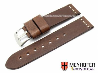 Watch band -Messina- 20mm dark brown genuine leather grained by MEYHOFER (width of buckle 20 mm) - Bild vergrößern