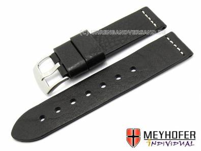 Watch band -Messina- 20mm black genuine leather grained by MEYHOFER (width of buckle 20 mm) - Bild vergrößern