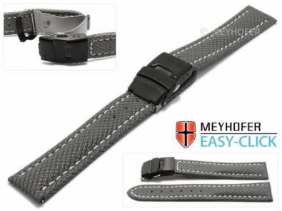 Watch strap Meyhofer EASY-CLICK -Huron- 24mm grey Textile look light stitching with clasp (width of clasp 22 mm) - Bild vergrößern