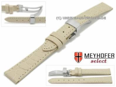 Watch strap -Rotenburg- 14mm beige calf leather croco grain with clasp by MEYHOFER (width of clasp 12 mm) - Bild vergrößern