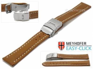 Watch strap Meyhofer EASY-CLICK -Sahtu- 22mm brown leather vegetable tanned light stitched clasp (width of clasp 20 mm) - Bild vergrößern