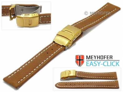 Watch strap Meyhofer EASY-CLICK -Yukon- 18mm brown leather vegetable tanned light stitched clasp (width of clasp 18 mm) - Bild vergrößern