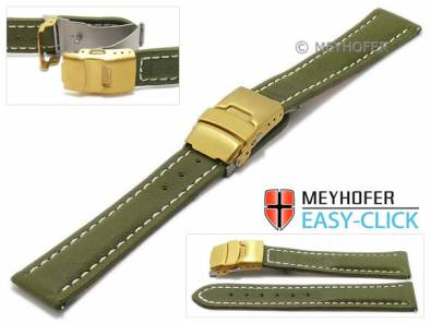 Watch strap Meyhofer EASY-CLICK -Yukon- 20mm olive leather vegetable tanned light stitched clasp (width of clasp 18 mm) - Bild vergrößern