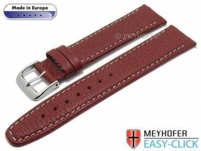 Meyhofer EASY-CLICK watch strap -Tabor- 22mm red leather grained light stitching (width of buckle 20 mm) - Bild vergrößern
