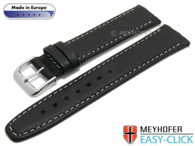 Meyhofer EASY-CLICK watch strap -Tabor- 16mm black leather grained light stitching (width of buckle 14 mm) - Bild vergrößern
