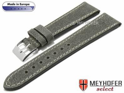 Watch strap -Billings- 24mm grey leather vintage look light stitching by MEYHOFER (width of buckle 20 mm) - Bild vergrößern