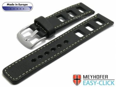 Meyhofer EASY-CLICK watch strap -Brega- 20mm black leather smooth surface racing light stitching (width of buckle 20 mm) - Bild vergrößern