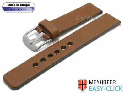 Meyhofer EASY-CLICK watch strap -Cardemin- 18mm brown leather smooth surface (width of buckle 18 mm) - Bild vergrößern