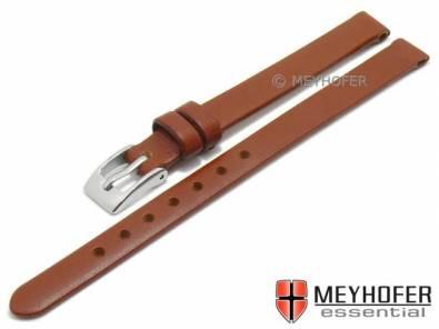 Watch strap -Salinas- 10mm brown leather smooth without stitching by MEYHOFER (width of buckle 08 mm) - Bild vergrößern