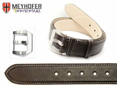 Leather Belt -Canberra BLT- dark brown genuine buffalo light stitching 110cm (L) by MEYHOFER - Bild vergrößern