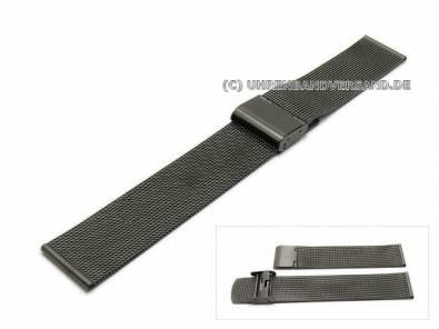 Watch strap 18mm anthracite/black mesh fine structure with security clasp - Bild vergrößern