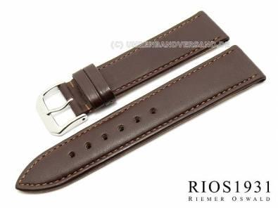 Watch band -Toscana- 17mm dark brown calf leather smooth stitched by RIOS (width of buckle 16 mm) - Bild vergrößern