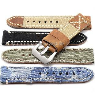 Rustic watch bands with vintage-look made of leather/textile diverse designs from the Rock!t Collection - Produktbild