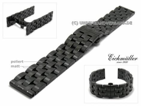 Watch strap 22mm black stainless steel solid partly polished for Breitling by EICHMÜLLER - Bild vergrößern
