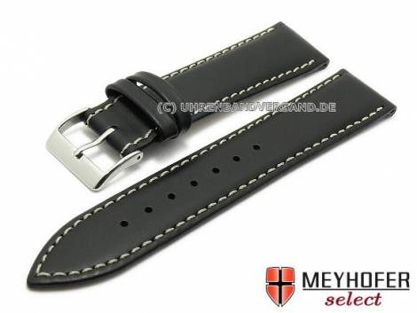 Watch strap -Astana- 20mm black saddle leather light stitching by MEYHOFER (width of buckle 18 mm) - Bild vergrößern