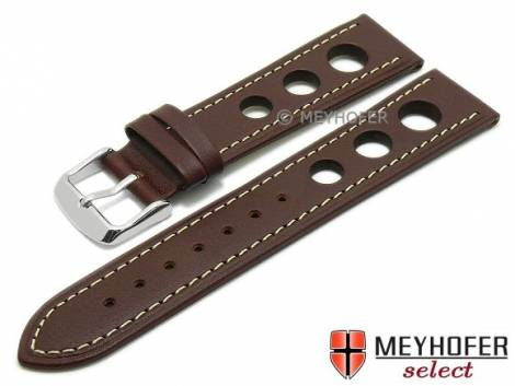 Watch strap -Dijon- 22mm dark brown saddle leather racing look light stitching by MEYHOFER (width of buckle 20 mm) - Bild vergrößern
