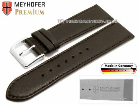 Watch strap XS -Korbach- 17mm dark brown leather grained stitched by MEYHOFER (width of buckle 16 mm) - Bild vergrößern