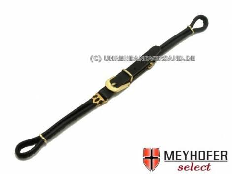 Cordette watch strap -Dori- black leather smooth golden buckle by Meyhofer - Bild vergrößern