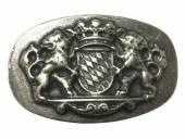 Gürtelschließe Metall altsilberfarben Bayerisches Wappen passend für Gürtelbreite 40 mm