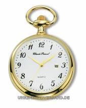 Lepine-Taschenuhr Edelstahl goldfarben (Hitec-IPG) mit Datumsanzeige von Claude Pascal (*CL*TU*)