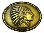 Gürtelschließe Metall altmessingfarben Indianer-Motiv passend für Gürtelbreite 40 mm