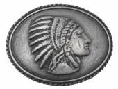 Gürtelschließe Metall altsilberfarben Indianer-Motiv passend für Gürtelbreite 40 mm