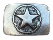 Gürtelschließe Metall altsilberfarben Scheriffstern-Motiv passend für Gürtelbreite 40mm