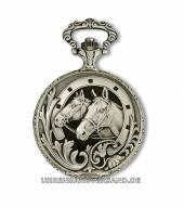 Mechanische Savonette-Taschenuhr Messing Pferdeköpfe Antik-Look von Claude Pascal (*CL*TU*)
