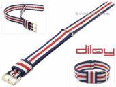 Uhrenarmband 18mm dunkelblau Nylon weiße und roter Streifen Durchzugsband von DILOY