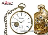 Mechanische Taschenuhr acidvergoldet Ziffernblatt weiß offene Unruhe Gardé (Ruhla) (*GD*TU*)