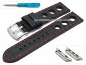 Uhrenarmband 22mm schwarz Leder Racing-Look orange Naht mit Adapter 38mm für APPLE Smartwatches (Schließenanstoß 22 mm)
