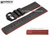 Uhrenarmband Ayrton 24mm schwarz Leder/Kautschuk Carbon-Optik rote Seitenkanten von HIRSCH (Schließenanstoß 22 mm)